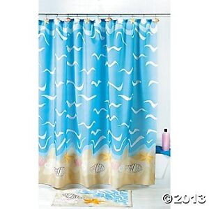 Seashell Shower Curtain Bathroom Nautical Seaside Ocean Decor Bath Beach Summ