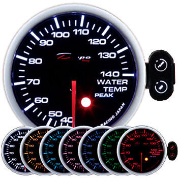 DEPO racing 60 mm Smoked 7 Color Water Temp Gauge with sensor