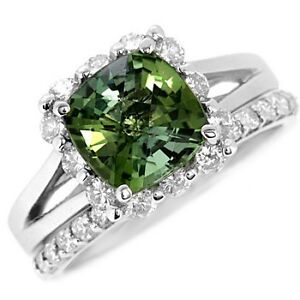 FINE CUSHION GREEN TOURMALINE DIAMOND ENGAGEMENT WEDDING RING SET 14k WHITE GOLD