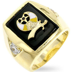 SHRINER-MASON-MASONIC-LOGO-BLACK-14K-GOLD-RING-SIZE-8-9-10-11-12-13-14