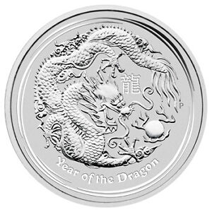 2012 Lunar Year of Dragon 1/2oz Pure Silver Coin BU