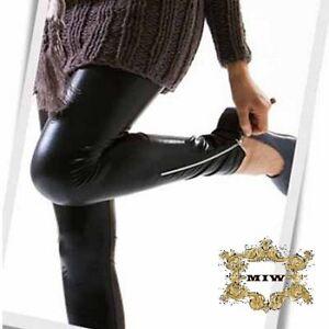 Sz-S-M-L-XL-New-Black-Leather-Look-Zip-Up-Fashion-Skinny-Pants-Leggings