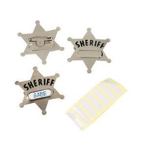 12 Party Favors Western Cowboy Metal SHERIFF Deputy Badge BADGES ~ NEW