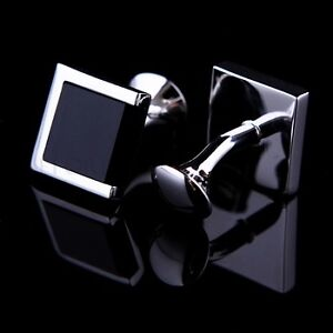 High Quality Mens Stainless Steel Silver Black Square Wedding Cufflinks 1.5CM