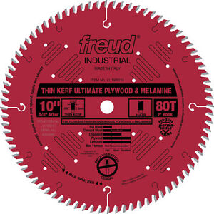 Freud 10-in 80T Thin Kerf Plywood/Melamine Circular Saw Blade LU79R010 NEW