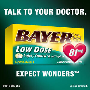 BAYER 81 MG Low Dose Aspirin 400 Coated Tablets