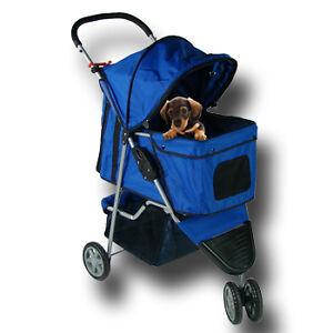 Folding-Blue-Pet-Dog-Cat-Travel-Stroller-Carrier-3-Wheel