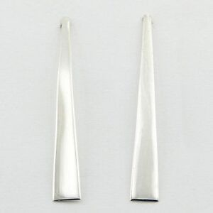 Unusual Long Stretched Triangular 925 Sterling Silver Stud Earrings