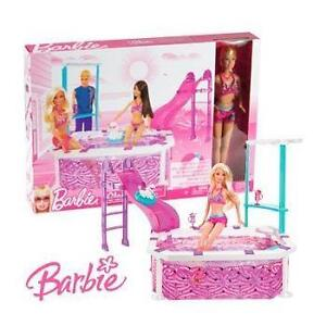 New Barbie Doll Glam Swimming Pool Girls Play-set With Poodle Dog