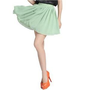 8 Colors Retro Women Ladies Pleated Double Layer Chiffon Mini Skirt Short Dress