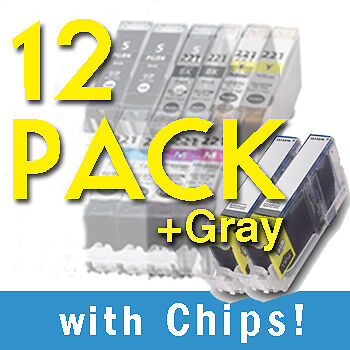 12 pack PGI-220 CLI221+GREY w/chip INK FOR CANON Pixma MP560 MP620 MP630 Printer on Rummage
