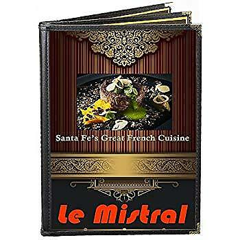 25 Menu Covers Black Triple Panel Booklet 6-view 8.5 W X 14 H Double-stitched