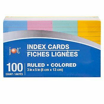 3x5 Neon Index Cards Pack of 100 in Green, Yellow, Blue, and Pink