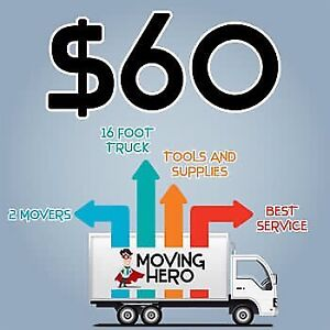 2moving heros & 16ft for $60hr or 2movers & 26ft $70hr
