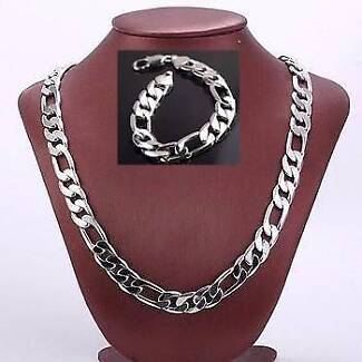 Mens Heavy 12mm 18k White Gold Filled Necklace Bracelet Chain Set Slacks Creek Logan Area Preview