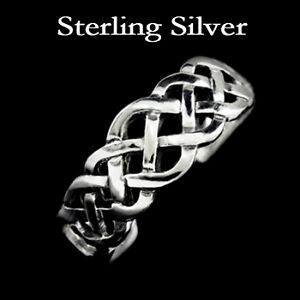 Elegant Solid Sterling Silver Toe Ring Celtic Knot 925 Adjustable Vintage Style