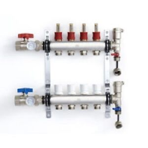 Stainless Steel Radiant Heat Manifold Set With 1/2″ PEX Adapter
