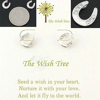 Wish Tree Silvertone Western Horseshoe Earrings Clear Stones & Pierced Posts