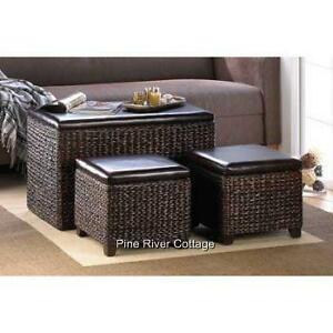 Dark Brown Woven Wicker Storage Chest Trunk Coffee Table Amp Ottomans Padded Set Ebay