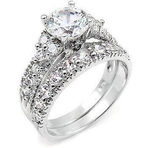 sterling silver engagement ring sets - Silver Wedding Rings