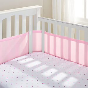Pink breathable crib bumper