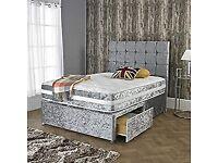🔥🌟Double silver crush velvet divan base+2 storage draws+Matching diamanté headboard+mattress