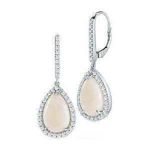Opal and Diamond 14kt White Gold Earrings