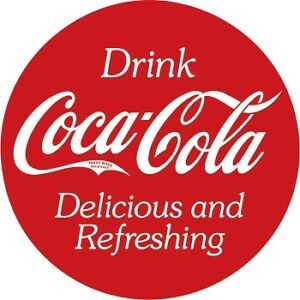 "Tin Sign - Coca Cola 14"" round and domed shape"