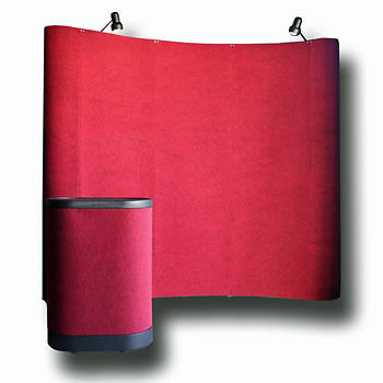 8' Red Portable Pop Up Display Kit w/ Spotlights for Trade Show Booth Exhibit on Rummage