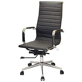 Modern Design High Back PU Leather Chrome Frame Office Chair In Black