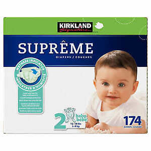 BRAND NEW BOX KIRKLAND DIAPERS SIZE 2, 174 DIAPERS