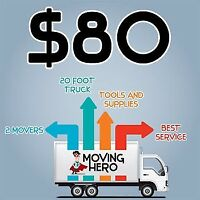18ft truck & 2men $89hr  BOOK TODAY MONCTON FAVOURITE MOVERS!!
