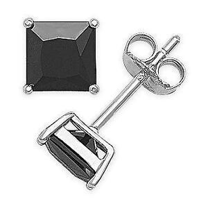 Princess Cut Black Diamond Earrings