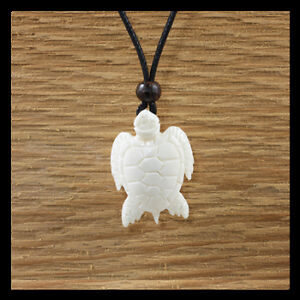 Charming Turtle Bone Pendant Surf Beach Black Cord Necklace Carved Men Women