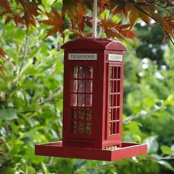 NEW Traditional Novelty Police Phone Box Wooden Garden Hanging Bird Feeder RED