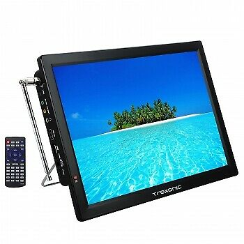 Trexonic Portable Rechargeable 14 Inch LED TV with HDMI, SD/