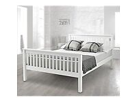 Martini Double bed in ice white - Very smart - with memory foam mattress - Delivered