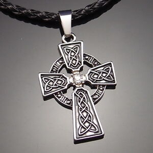 Irish Celtic Knot CZ Cross Pewter Pendant with 20