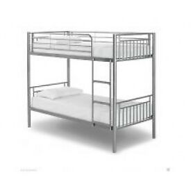 Bunk Bed, Metal Bed, Silver, white, sprung, Mattress, Single Bed, X2, Silver, sturdy, frame