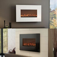 Wall Mount Electric Fireplace (White/Gray)