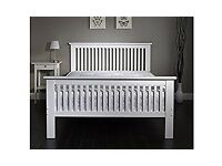 Wanted white double wooden bed frame