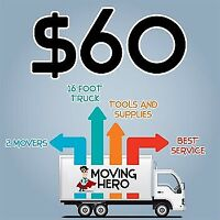 2men & truck $60hr (RELIABLE..FAST..CAREFUL MOVERS!)short notice