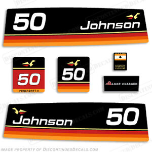 Johnson 1974 50hp Outboard Decal Kit Discontinued Decal