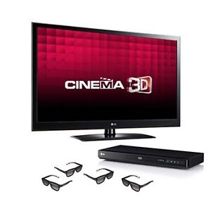 "LG 47"" LED 3D TV BUNDLE WITH PLAYER / GLASSES / MOVIES / CABLE"
