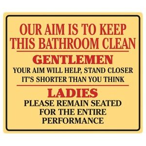 Tin Sign - Funny Clean Bathroom sign