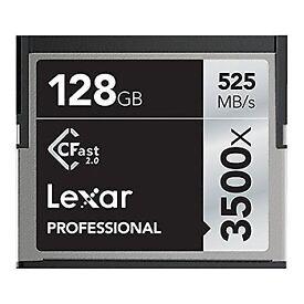 Lexar 3500x 128GB CFAST 2.0 card. 525 MB/s