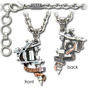 Alchemy, Gothic Accessories Pendant - UL13 Tattoo Gun Necklace