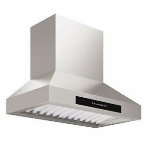 "775 cfm 30"" or 36"" ANCONA PRO SERIES Pyramid Wall Mount Range Hood"