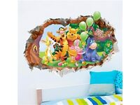 3D view Winnie the Pooh wall stickers, BRAND NEW
