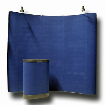 8' Blue Portable Pop Up Display Kit w/ Spotlights for Trade Show Booth Exhibit on Rummage
